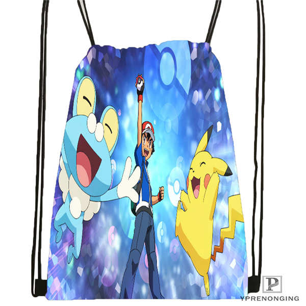 Custom Cartoon-Pokemon-Cute Drawstring Backpack Bag Cute Daypack Kids Satchel (Black Back) 31x40cm#180611-01-24