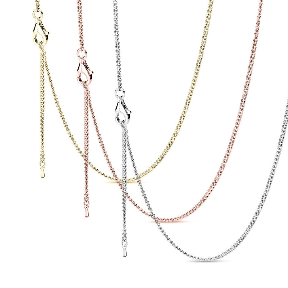 Seialoy New 45cm Cable Basic Chain For Necklace Fit Original O Shape Charms Pendant Necklace Women Men Jewelry Boy Girls Gift