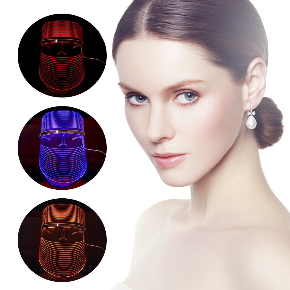 3 Colors LED Facial Mask LED Photon Therapy Face Mask Machine Light Therapy Mask with Neck Skin Tighten Beauty Skin Care Machine