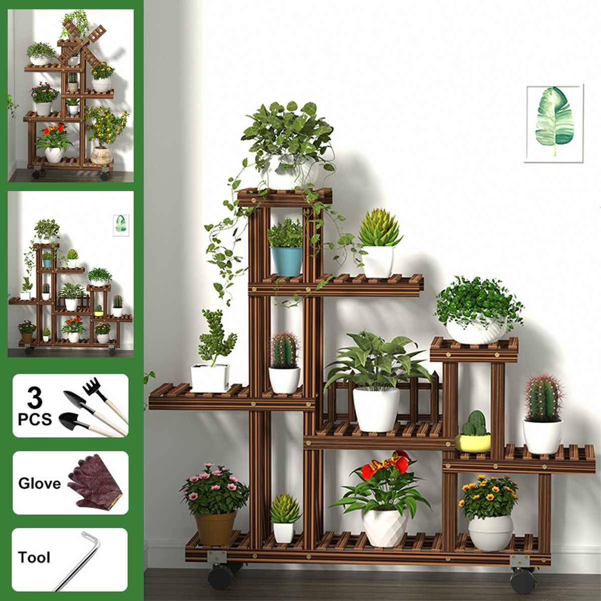 Multi-nivel de madera flor Rack con ruedas estante para plantas de flores estantes Bonsai estante patio jardín exteriores Decoración