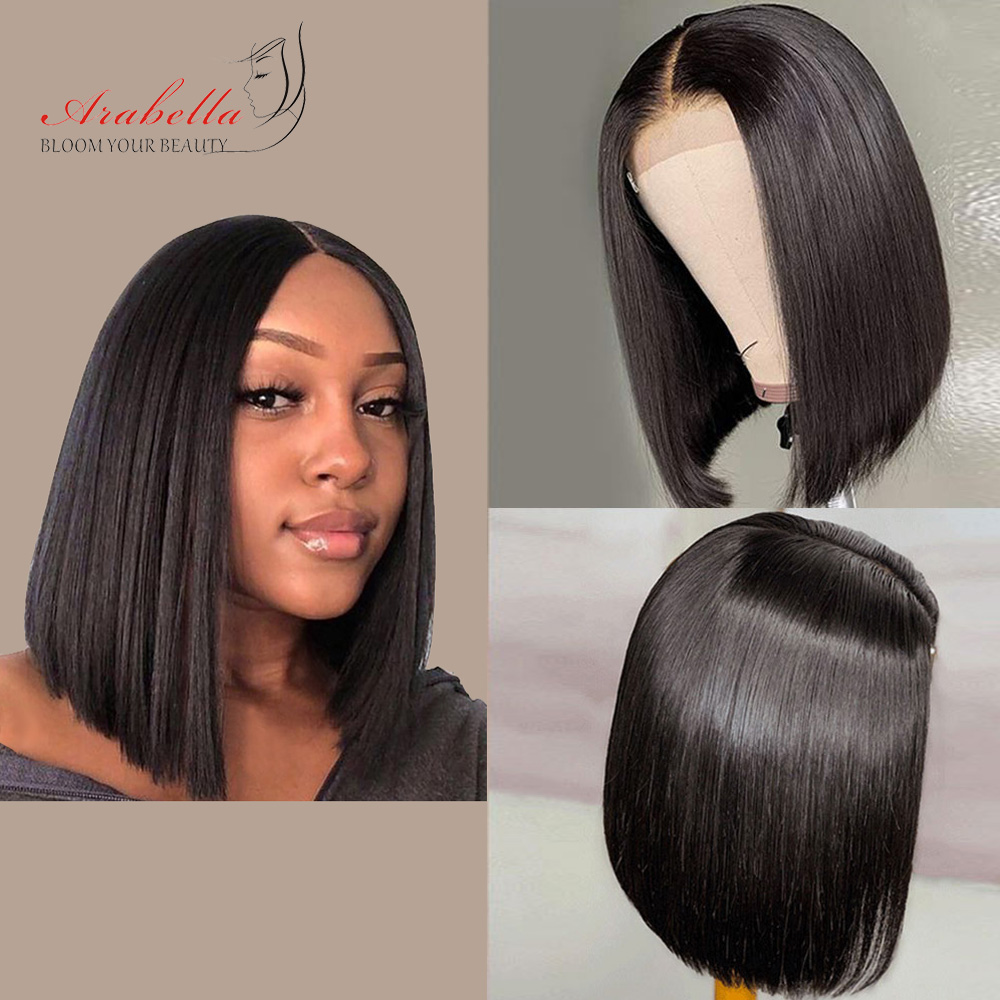 Straight Bob Wig 180% Density 100% Human Hair Wigs Remy Hair Arabella 4*4 Lace Closure Wig Pre Plucked Glueless Short Bob Wigs