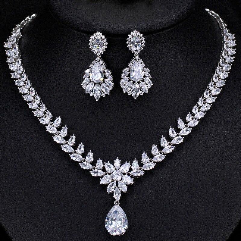 3A Zircon Neckle Earring Set Ultra Shining Luxury Bride Wedding Jewelry Exquisite Jewelry 2-piece Dress Set Accessories