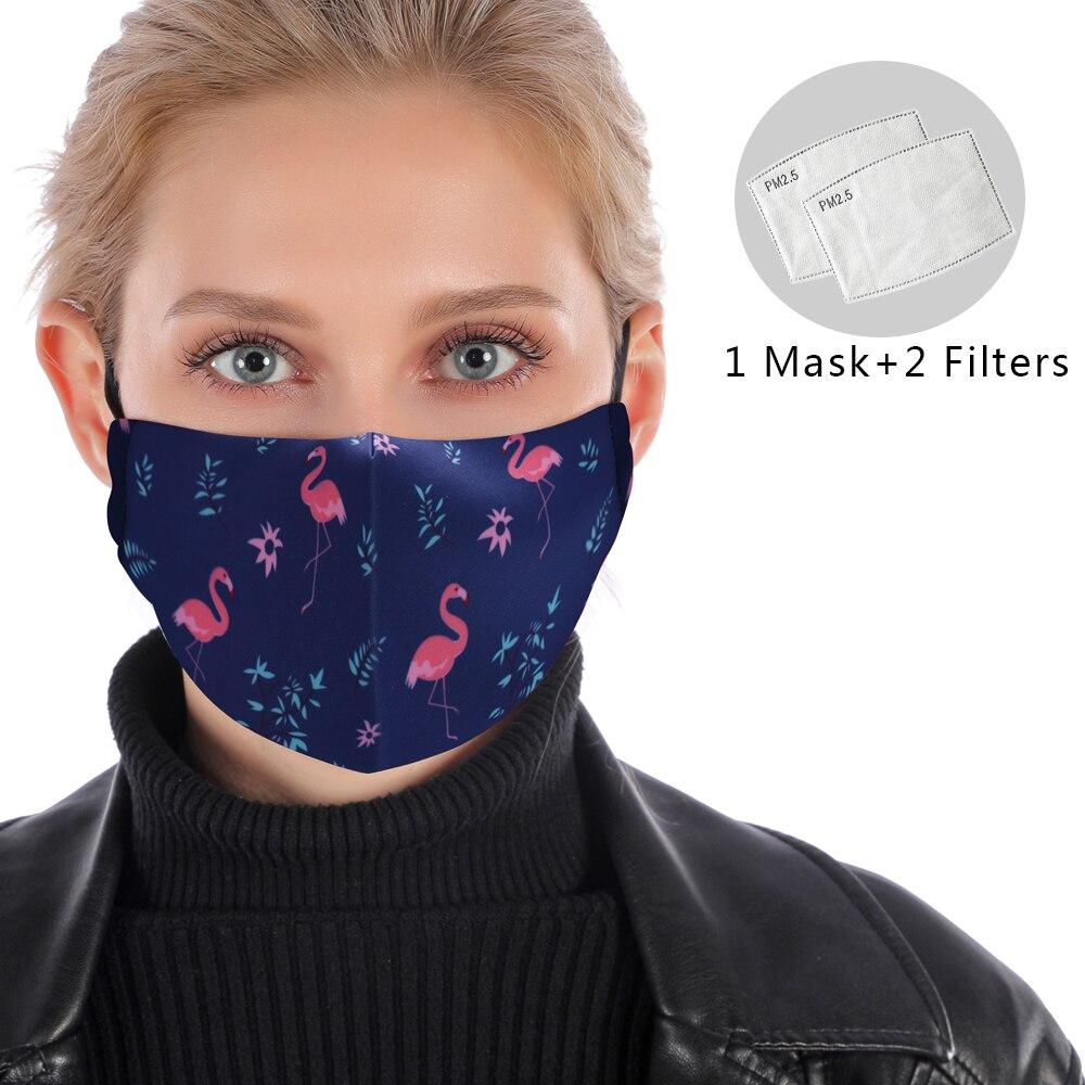 Stylish Blue Flamingo Washable Mask PM2.5 Filter Mask Reusable Mouth Mask Protective Anti Dust Face Mask Windproof Mask