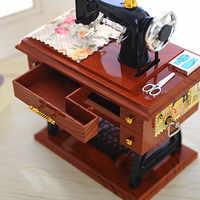 #20 Vintage Music Box Mini Sewing Machine Style Mechanical Birthday Gift Table Decor Mechanical Music Box New Realistic