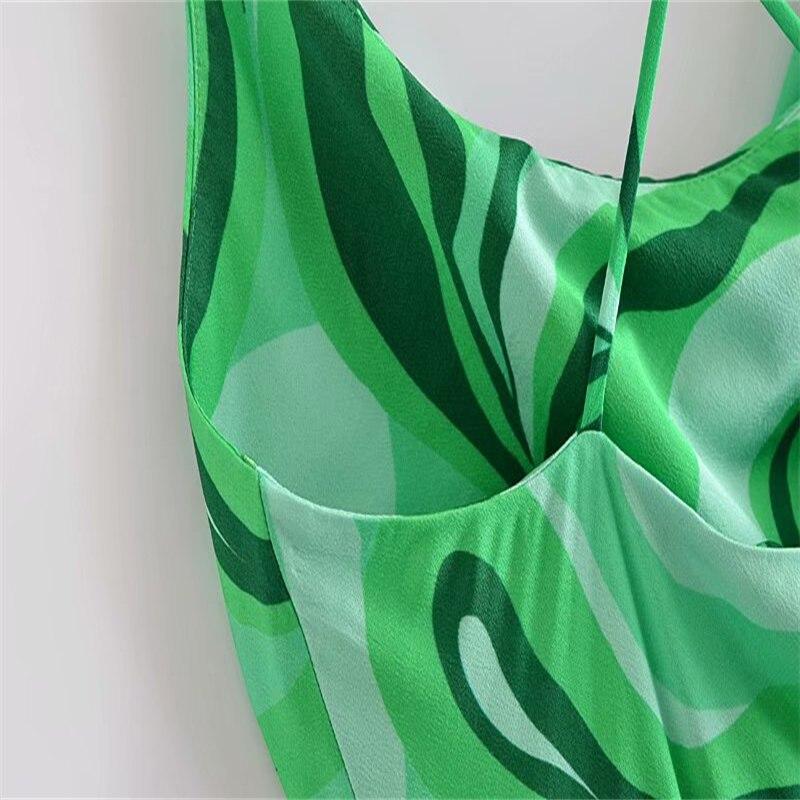 Za Summer Cross Spaghetti Straps Short Dress Women 2021 Green Slip Sexy Backless Party Dresses Draped Neckline Club Ladies Dress 5