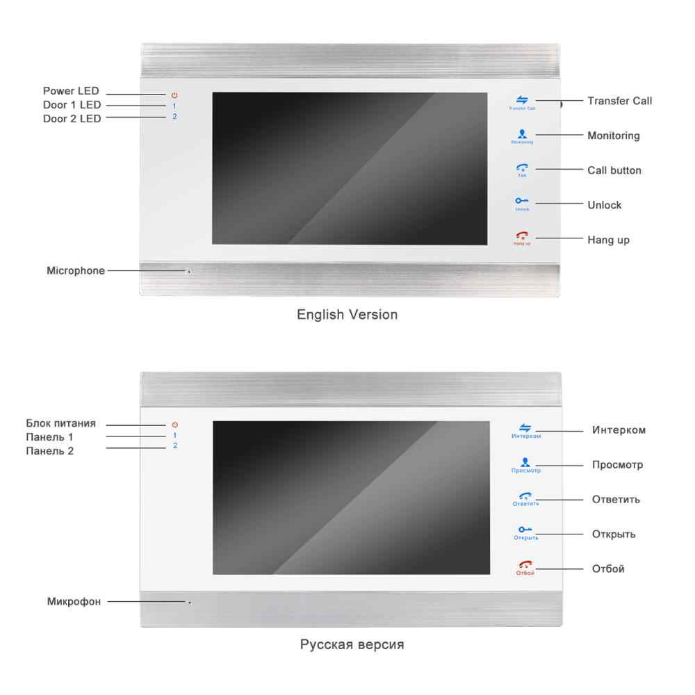 Homefong الفيديو باب الهاتف السلكية 7 بوصة شاشة عالية الوضوح مع كشف الحركة سجل دعم كاميرا تلفزيونات الدوائر المغلقة للمنزل الفيديو نظام اتصال داخلي