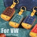Car Key Case Cover For Volkswagen VW Bora Golf 7 MK7 Tiguan L Lavida plus For Skoda Octavia Karoq For Seat Ateca Leon Key Bag