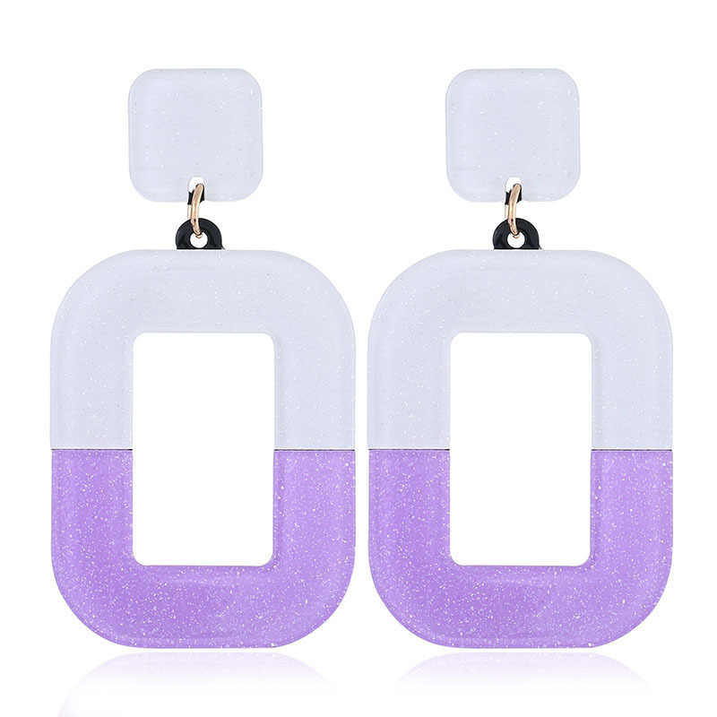 2020 New Retro Resin Drop Earring Fashion Exaggerated Rectangular Hip Hop Acrylic Statement Dangle Earrings Jewelry Accessories