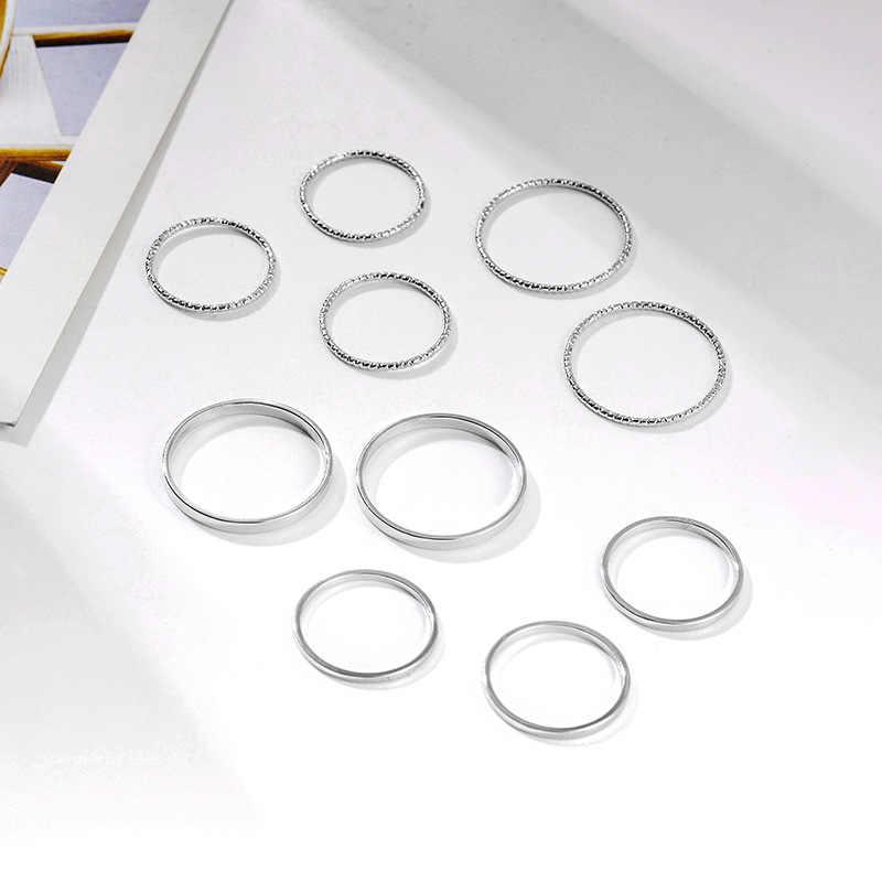 10 ชิ้น/เซ็ต 2019 แฟชั่นการออกแบบ anillos Vintage Gold Silver สีร่วมชุดแหวนสำหรับเครื่องประดับสตรี