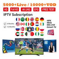 Ver suscripción IPTV para IPTV francés árabe Reino Unido holandés España NO adulto 5000 + Live 10000 + VOD 4K qhdtv IPTV M3U Smart TV Full HD