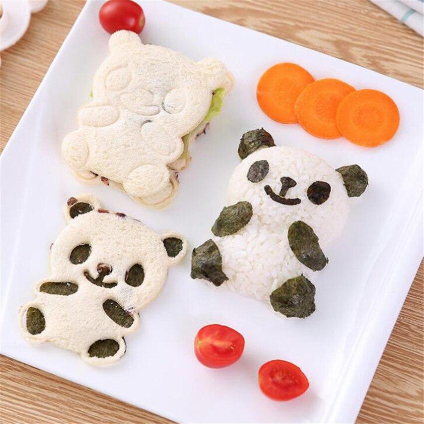 4pcs/set Cute Panda Shaped Sushi Mold Seaweed Cutter Kit Animal Rice Ball Moulds Kitchen Baking DIY Cookies Dessert Bread Molds