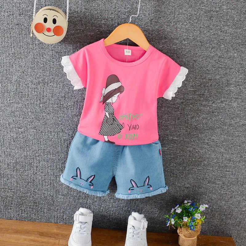 الفتيات الحلو لطيف الكرتون فتاة صغيرة قصيرة الأكمام قطعتين 2020 الصيف نمط جديد تي شيرت ملابس الأطفال