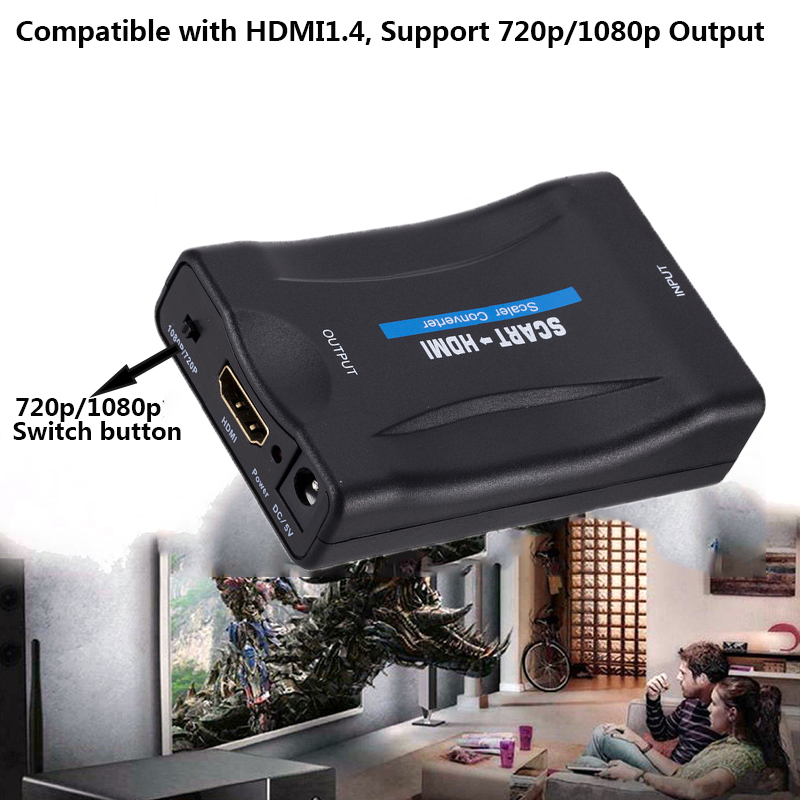 1080P Scart To HDMI Converter Audio Upscale Video Adapter for HDTV Sky Box STB for Smartphone HD TV DVD with dc cable