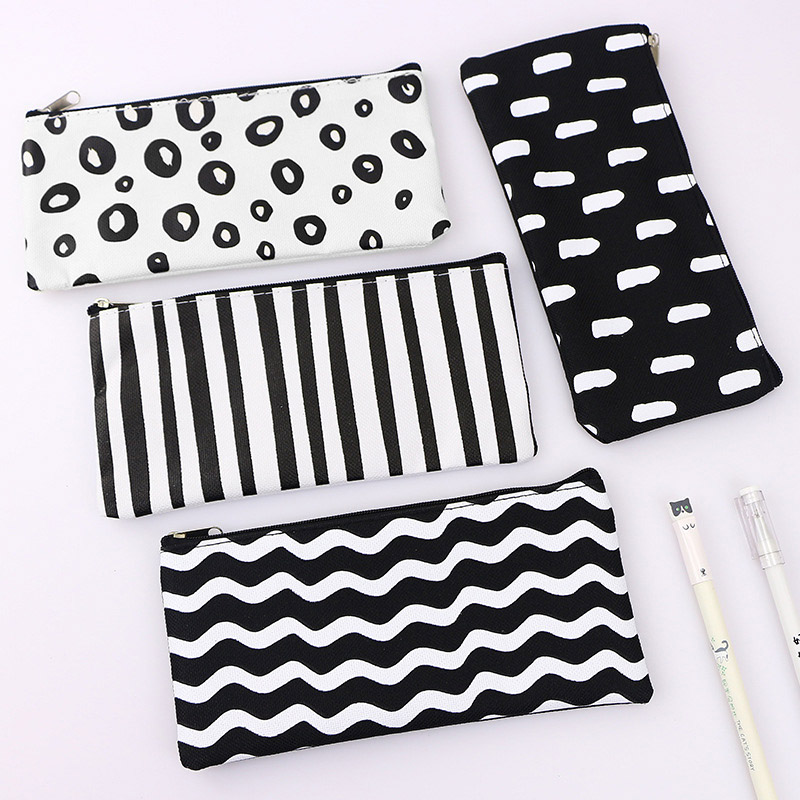 Stationery Canvas Pencil Case School Black And White Pencil Bag Simple Striped Grid Pencilcase For Kids Pen Bag Office Supplies