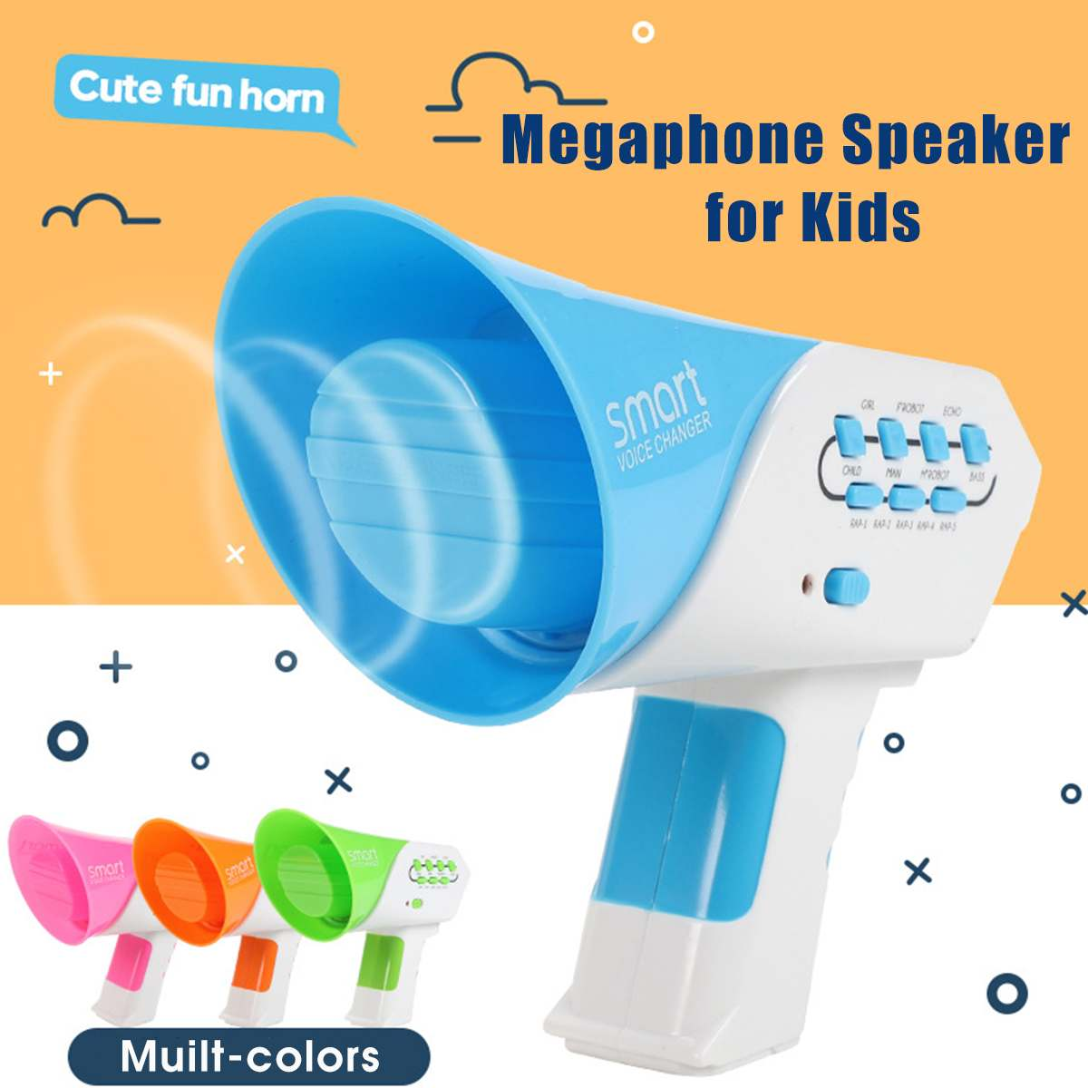 Multichannels Mini Voice Changer For Kids Children Handheled Loudspeaker Creatives Voice Changing Baby Toy Party Megaphone