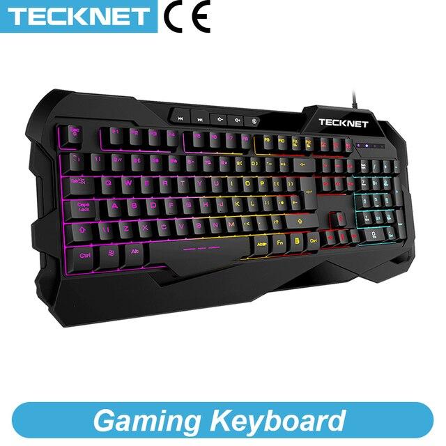 Teclado para videojuegos TeckNet, sensación mecánica, teclados para videojuegos antighosting, Teclado retroiluminado luminoso con diseño en inglés para jugadores
