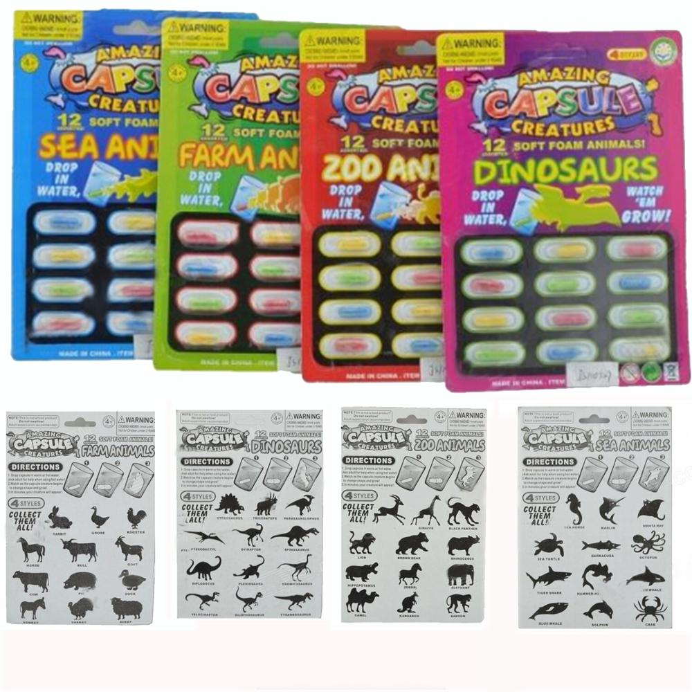 Besegad 4 Magic Soft EVA Grow Water Absorption Larger Pill Various Capsule Expansion Animal Creatures Toy Gags Practical Jokes
