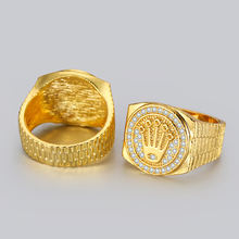 Индивидуальное позолоченное кольцо с короной стразы со льдом