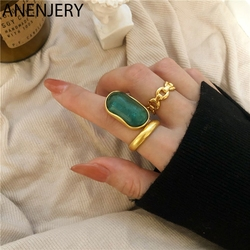 ANENJERY 925 srebro francuski duży pierścionek ze szmaragdem dla kobiet Vintage Design lekka luksusowa wykwintna ręcznie robiona biżuteria S-R964