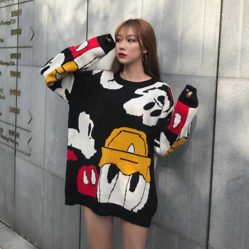 2019 Autumn and winter Korea new Donald Duck Mickey Mouse sweater sweater loose personality sweater cartoon female