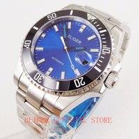 Bliger safira vidro 43mm azul nologo/logo dial data janela men relógio de pulso mecânico cinta mental movimento miyota