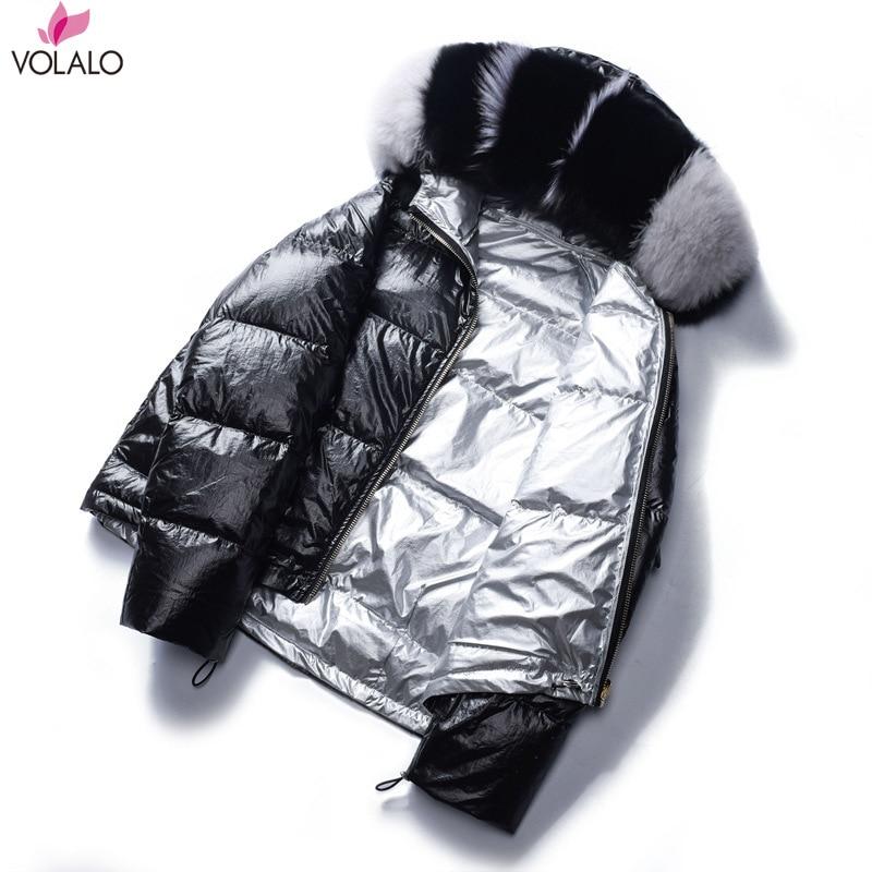 Golden Zipper Down Jackets Women Fashion Reversible Down Coats Women Elegant Short Down Winter Jackets Female Ladies
