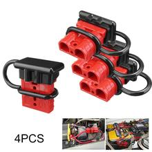 4pcs Red Color 600V 50A Battery Trailer Quick Charge Plug Connect Disconnect Tool Electric Winch Wire Harness Connector