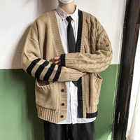 2019 Winter Men's Flower Printing Knitting Keep Warm Woolen Sweater Cashmere Cardigan Loose 4 Color Clothes Coat Size M-2XL