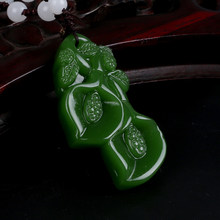 Drop shipping Beautifully Green Nephrite Orchid Ruyi Pendant Green Auspicious Magnolia Jades Pendant Jewelry women mom gift(China)