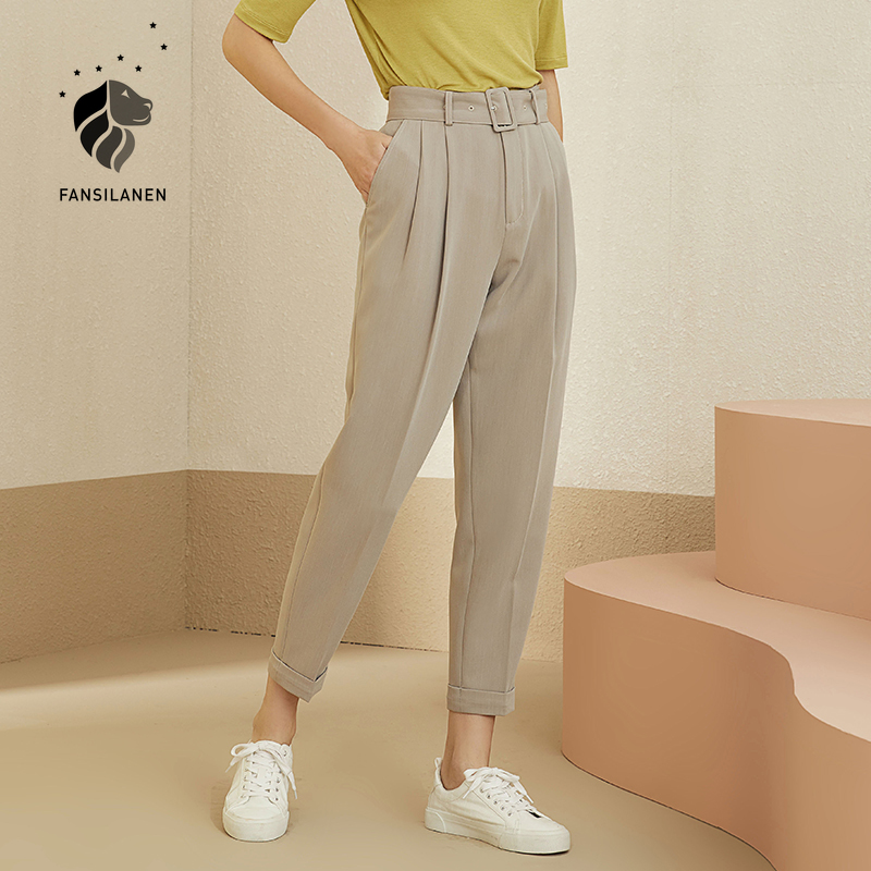 FANSILANEN Pleated casual suit pants capri Khaki office lady high waist pants Autumn winter streetwear straight trousers bottom