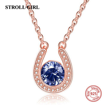 925 Sterling Silver Personalized Birthstone Pendant Chain u Shape Custom Rose Gold Color Necklace for Women Fine Jewelry Gift bisaer 100%real 925 sterling silver rose gold color heart apple sakura shape pendant necklace for women fashion gift hsn313