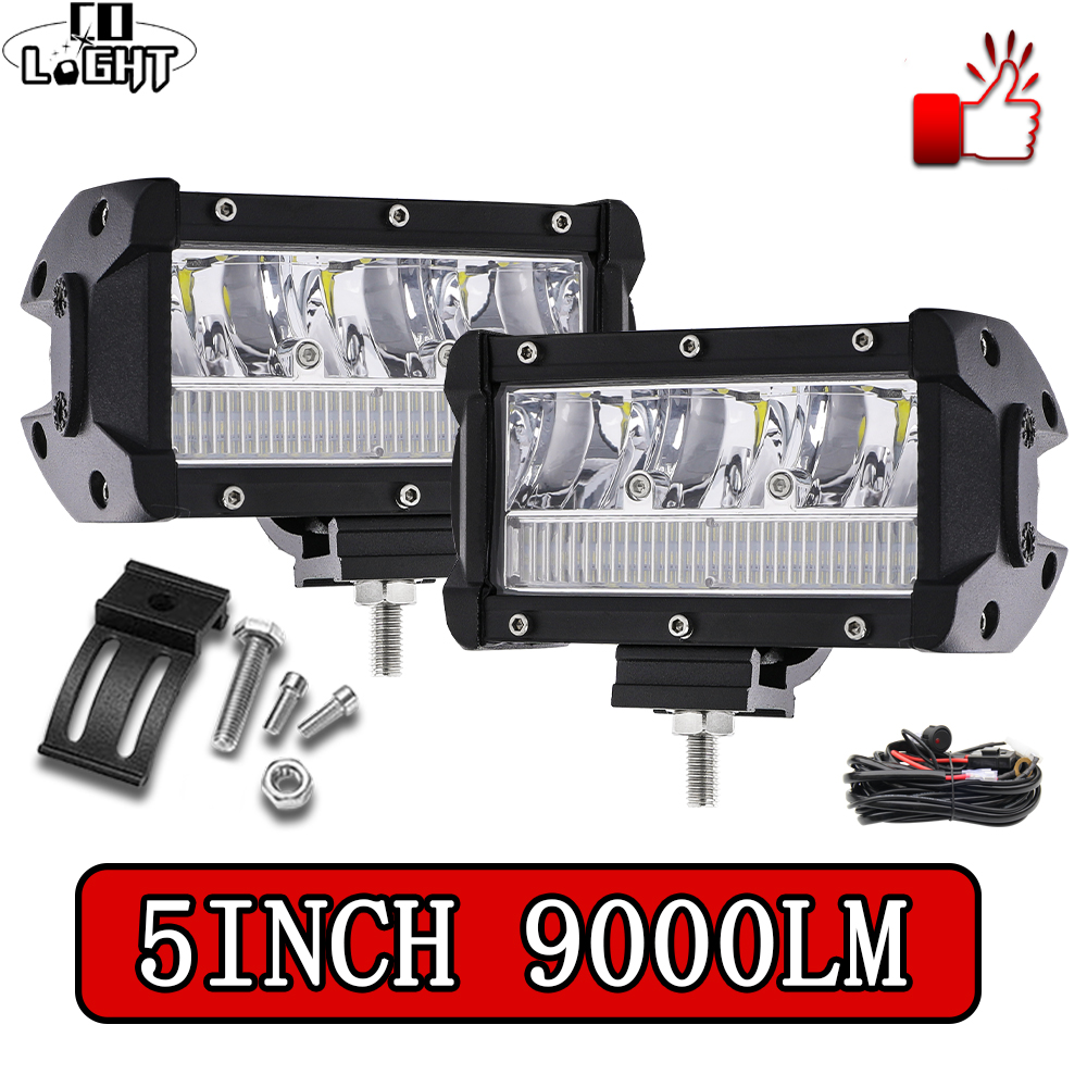 CO LIGHT Super Bright Led Work Light 5 Inch Combo Led Beams 9000LM Led Bar Light For Driving Offroad 4x4 4WD SUV Tractor 12V 24V