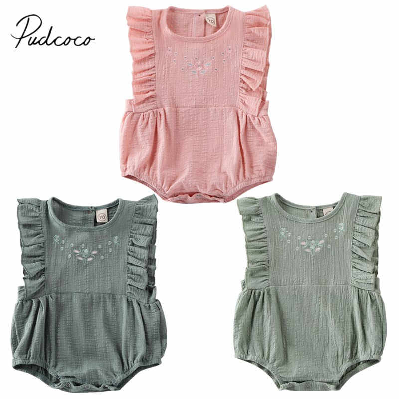 2020 Baby Summer Clothing Cute Newborn Infant Baby Girl Clothes Embroidery Floral Jumper Bodysuit Sleeveless 100% Cotton Outfit