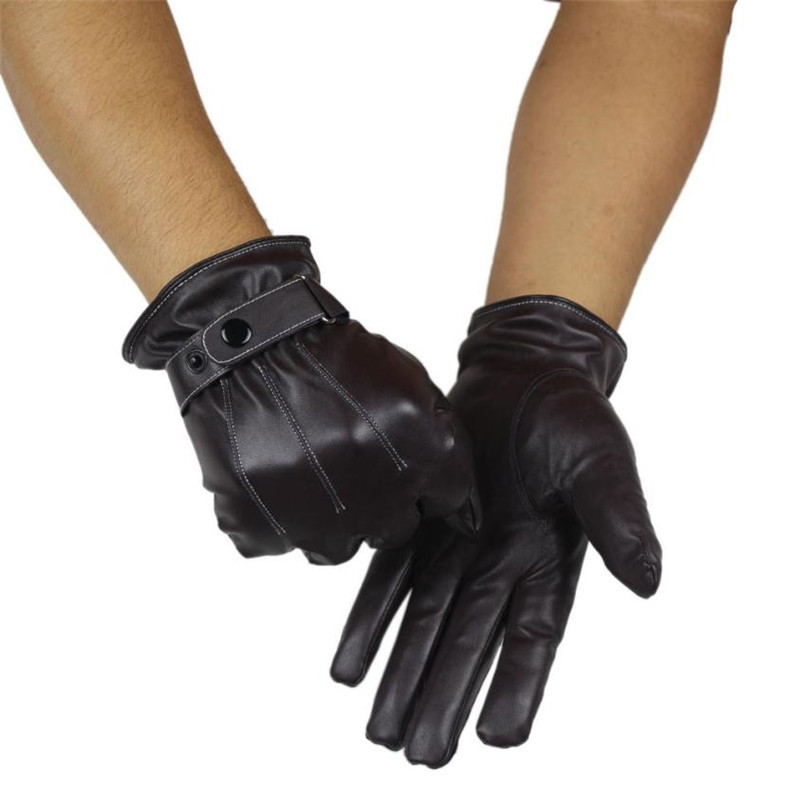 Solid Winter Gloves Leather Gloves Men All Handmade Deerskin Lining Stripes Style Soft Delicate Price Concessions Direct