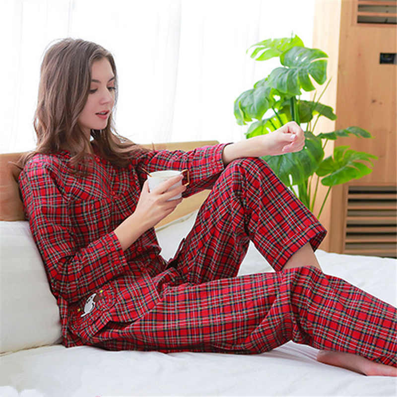 Spring Women Pajamas Set Sleepwear Stripe Long Sleeve Turn-down Cute Cotton Female Pijama Casual Homewear Female Pyjamas