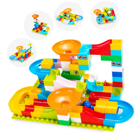 52 208 pces marmore corrida labirinto bolas pista blocos de construcao funil plastico slide tamanho