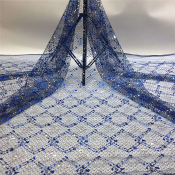 Madison Nigerian Sequin Lace Fabrics Royalblue African Lace Fabric 2020 High Quality Lace French Net Lace Fabric For Wedding