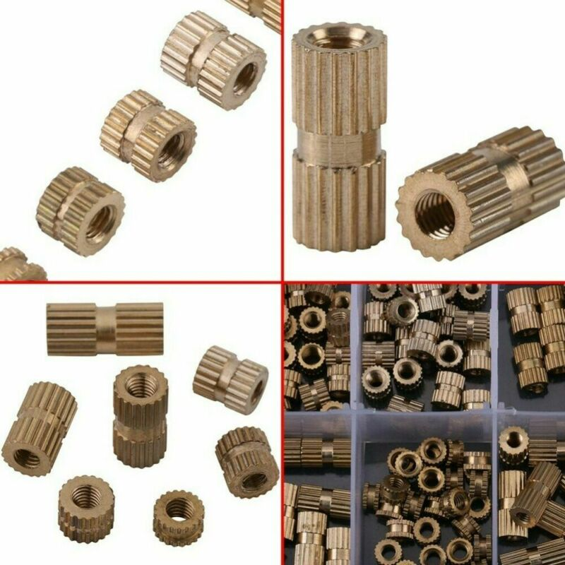 M8 x 8mm OD Female Thread Brass Embedment Assortment Kit 15 Pcs uxcell Knurled Insert Nuts L x 10mm