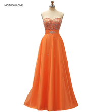 цена Evening Dress Robe De Soiree Tulle Orange Sweetheart Crystals Sequin Beading BlingBling Prom Dresses Long 2019 Party Formal Gown