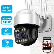 Kamery monitorujące z kamera Wifi bezprzewodowy dostęp do internetu Street 1080P kamera z podwójnym obiektywem kamera Wifi Ip na zewnątrz kamera Wifi Wifi 360 Yosee