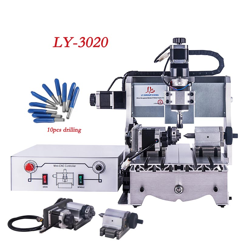 LY Mini <font><b>3020</b></font> 300W <font><b>CNC</b></font> <font><b>Router</b></font> for DIY Wood carving Drilling and Milling Engraver Machine with free <font><b>cnc</b></font> kit knife image