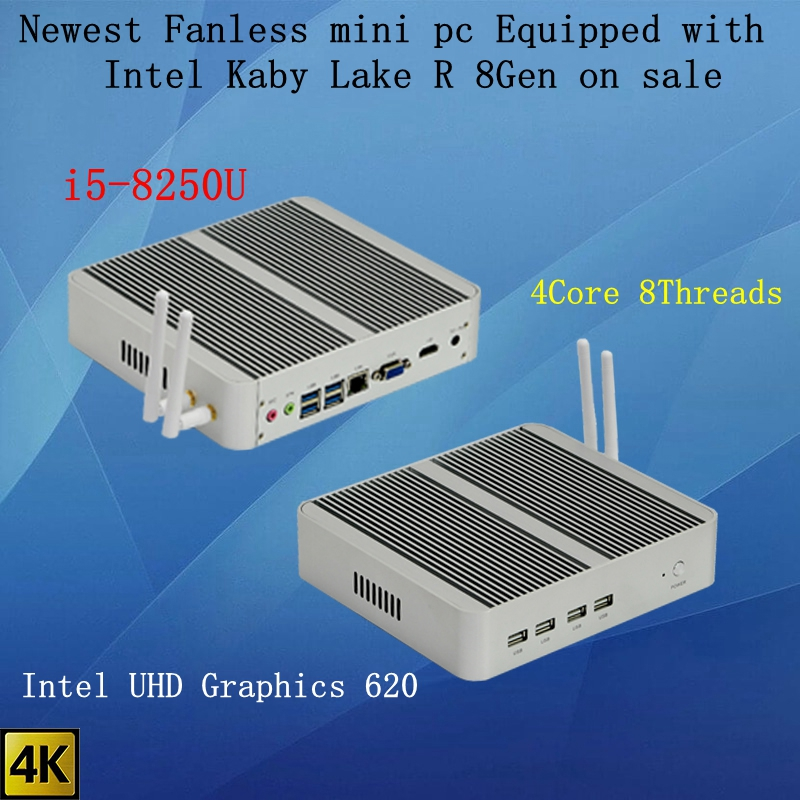 Newest Kaby Lake R 8Gen Fanless Mini Pc I5 8250u/8265u Intel UHD 620 Win10 Quad Core 8 Threads DDR4 2400 2666 NUC