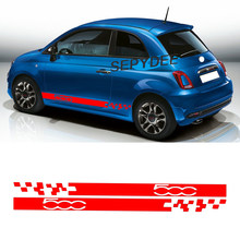 2Pcs For Fiat 500 Abarth Side Skirt Stickers Racing Sport Car Body Decor Long Stripes Graphic Vinyl Film Decals Car Accessories