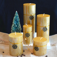 Gold Cylindrical Wedding Candle Party Gift Wick Wax Pillar Birthday Candles Tea Light Christmas Candele Decorative Candle ALZ052