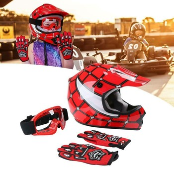 Motorcycle DOT Youth Kids Helmet Red Net Motocross Off-Road Helmet Goggles+Gloves gifts Kids Cycling casco moto Sports Safety 1