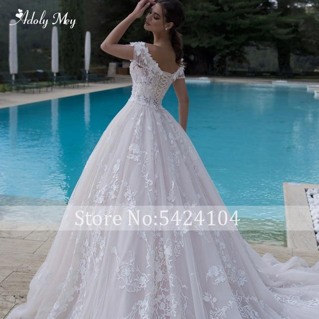Adoly Mey Gorgeous Appliques Flowers A-Line Wedding Dresses 2021 Luxury Beaded Boat Neck Lace Up Princess Bridal Gown Plus Size 6