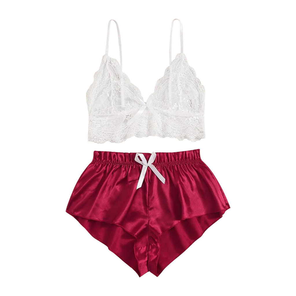 Women Lingerie Set Sexy Satin Lace Seamless Wireless Bra + Bow Low-Rise Shorts Women's Sexy Underwear Plus Size Pajamas Z1223