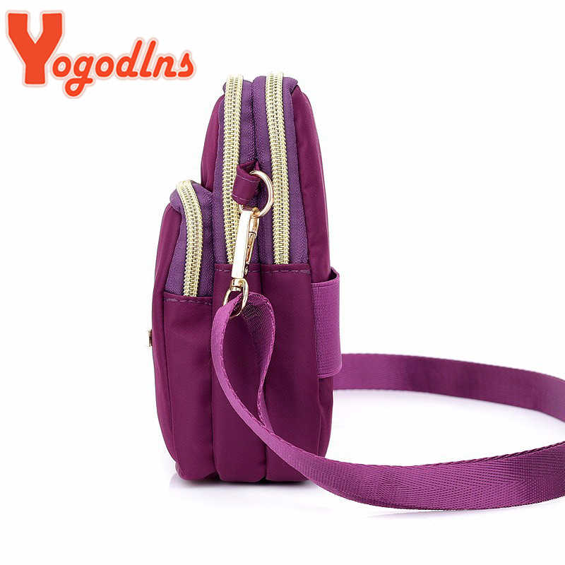 Yogodlns à prova dwaterproof água náilon mulheres crossbody saco de ombro do telefone mini bolsa caso cinto casual moda bolsa carteira
