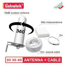 2G 3G 4G LTE GSM UMTS 360 ° anten kiti açık + kapalı + koaksiyel kablo cep telefonu sinyal güçlendirici amplifikatör tekrarlayıcı
