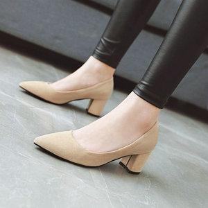 Image 4 - ZawsThia עבה גבוהה עקבים נעלי נשים משאבות נעלי עבודת בוהן מחודדת להחליק על עקבים גבוהים אביב הנעלה גדול גודל 42 43 אדום צהוב